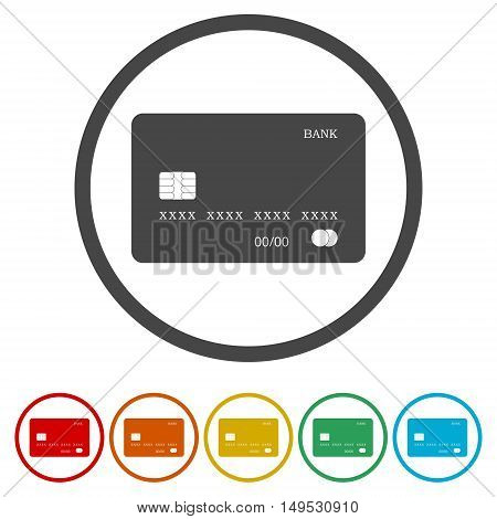 Credit card icon set on white background