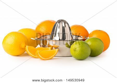 Stainless Steel Citrus Juicer Surrounded By Citrus Fruits