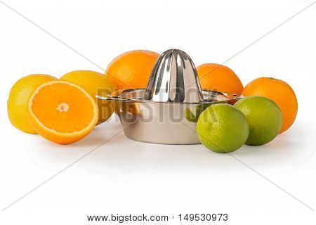 Shiny Stainless Steel Citrus Juicer Surrounded By Citrus Fruits
