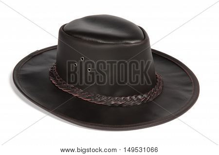 Black Brimmed Leather Hat