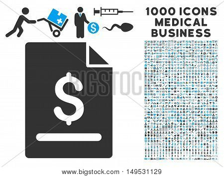 Invoice Page icon with 1000 medical business gray and blue glyph pictographs. Design style is flat bicolor symbols white background.