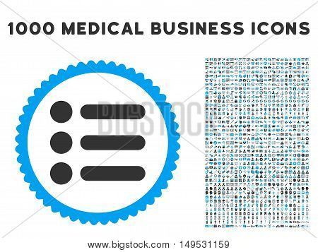 Items icon with 1000 medical commercial gray and blue glyph design elements. Clipart style is flat bicolor symbols white background.