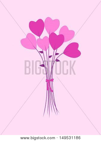 Bouquet of Flowers in a heart-shaped. Valentine's Day greeting Card.