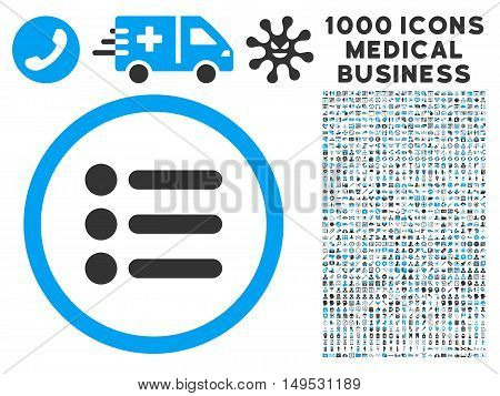Items icon with 1000 medical business gray and blue glyph pictograms. Design style is flat bicolor symbols white background.