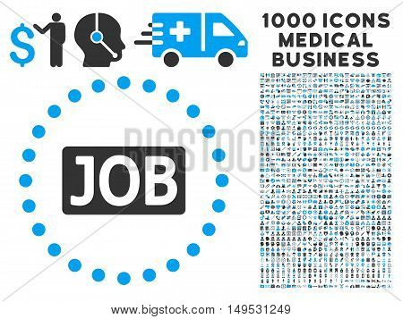 Job Text icon with 1000 medical business gray and blue glyph pictograms. Clipart style is flat bicolor symbols white background.