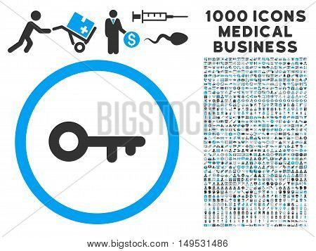 Key icon with 1000 medical commerce gray and blue glyph design elements. Design style is flat bicolor symbols white background.