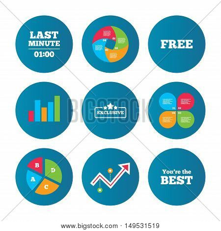 Business pie chart. Growth curve. Presentation buttons. Last minute icon. Exclusive special offer with star symbols. You are the best sign. Free of charge. Data analysis. Vector