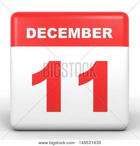December 11. Calendar On White Background.