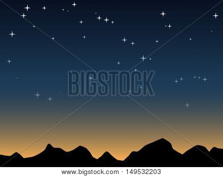 Mountains silhouette over dawn sky vector background