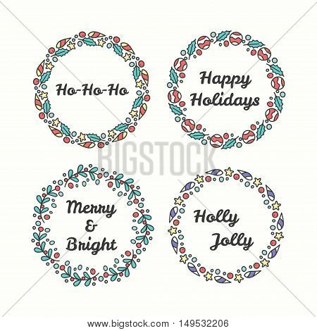 Christmas Wreath Set. Line Style Winter Collection. Greeting Typography. Hand Drawn Circle Frame With Wishes. Vector Illustration. Happy Holidays. Holly Jolly.