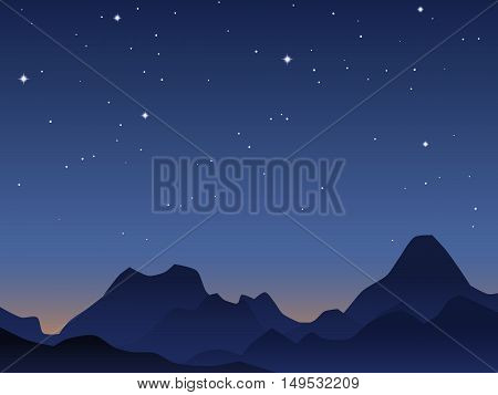 Mountains silhouette over dawn sky vector illustration
