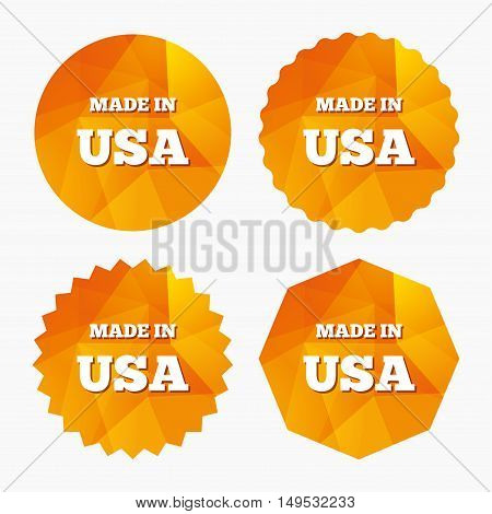 Made in the USA icon. Export production symbol. Product created in America sign. Triangular low poly buttons with flat icon. Vector