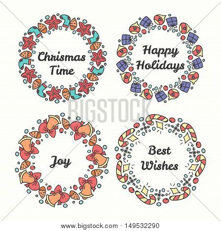 Christmas Wreath Set. Line Style Winter Collection. Greeting Typography. Hand Drawn Circle Frame With Wishes. Vector Illustration.