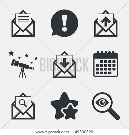 Mail envelope icons. Find message document symbol. Post office letter signs. Inbox and outbox message icons. Attention, investigate and stars icons. Telescope and calendar signs. Vector