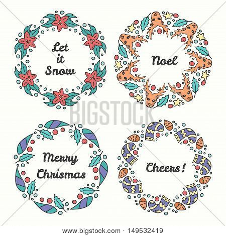 Christmas Wreath Set. Line Style Winter Collection. Greeting Typography. Hand Drawn Circle Frame With Wishes. Vector Illustration. Noel Text