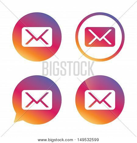 Mail icon. Envelope symbol. Message sign. Mail navigation button. Gradient buttons with flat icon. Speech bubble sign. Vector