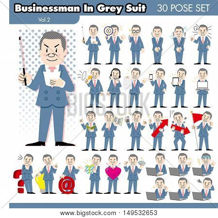 set of various poses of businessman in grey suit
