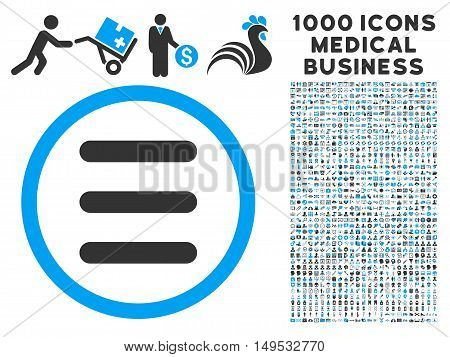 Menu icon with 1000 medical commercial gray and blue glyph pictographs. Design style is flat bicolor symbols white background.