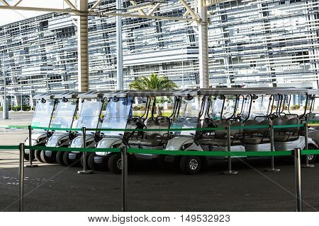 Sochi, Russia - November 12, 2014: Electric parking for rent in Olympic Park in Sochi