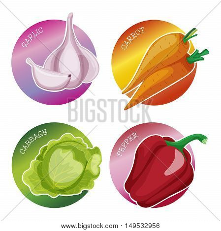 Set of stickers with vegetables: cabbage garlic carrot onion