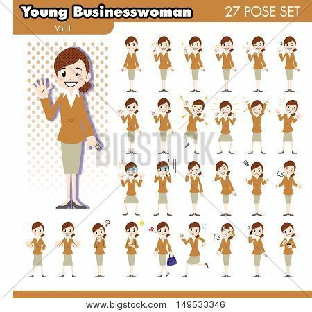 set of various poses of young businesswoman in brown suit