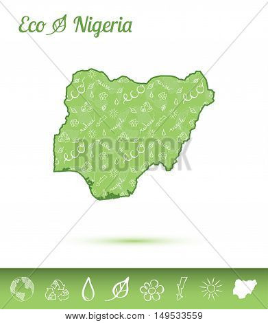 Nigeria Eco Map Filled With Green Pattern. Green Counrty Map With Ecology Concept Design Elements. V