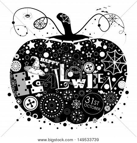 The picture pumpkin for Halloween. Pumpkin black with white elements inside the loop. Happy Halloween.