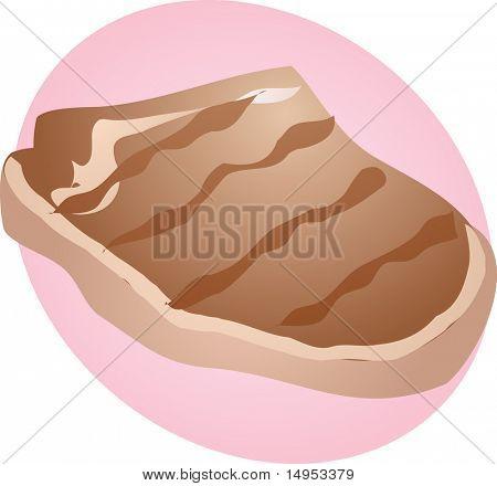 Grilled porkchop, meat dish food illustration clipart