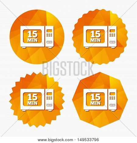 Cook in microwave oven sign icon. Heat 15 minutes. Kitchen electric stove symbol. Triangular low poly buttons with flat icon. Vector
