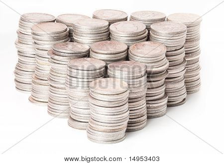 Stacks Of Pure Silver Coins