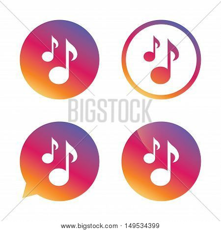 Music notes sign icon. Musical symbol. Gradient buttons with flat icon. Speech bubble sign. Vector