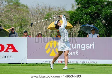 CHONBURI - FEBRUARY 28 : Xi Yu Lin of China in Honda LPGA Thailand 2016 at Siam Country Club Pattaya Old Course on February 28 2016 in Chonburi Thailand.