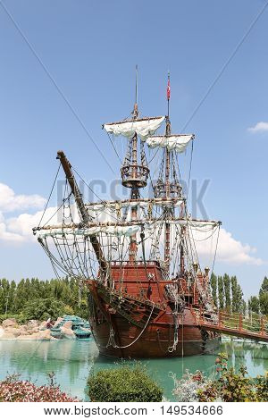 Pirate Ship in Sazova Science Art and Cultural Park in Eskisehir City Turkey