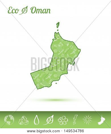 Oman Eco Map Filled With Green Pattern. Green Counrty Map With Ecology Concept Design Elements. Vect