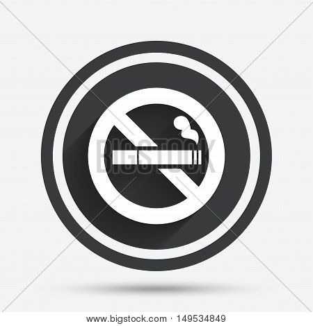 No Smoking sign icon. Cigarette symbol. Circle flat button with shadow and border. Vector