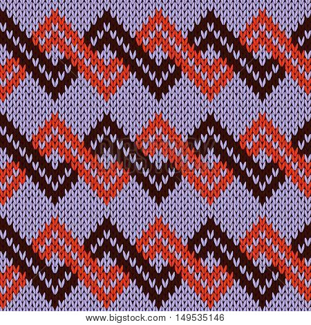 Knitting Seamless Zigzag Pattern In Violet, Red And Dark Brown