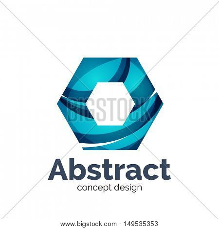 Unusual abstract business vector logo template - hexagon