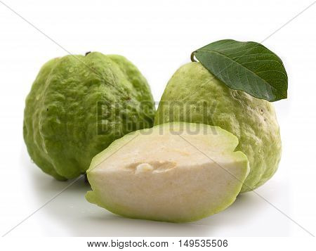 Fresh guava fruit Put on a white background