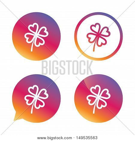 Clover with four leaves sign icon. Saint Patrick symbol. Gradient buttons with flat icon. Speech bubble sign. Vector
