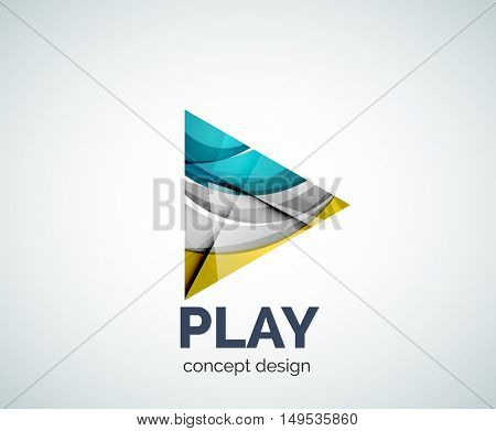 Play button logo business branding icon, created with color overlapping elements. Glossy abstract geometric style, single logotype