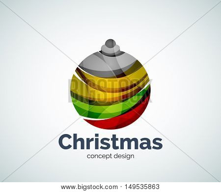 Vector Christmas ball logo template, abstract business icon