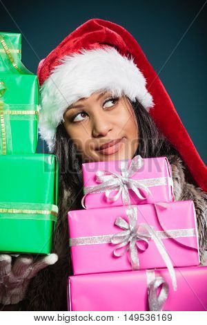 Girl Mixed Race Santa Claus Hat With Gift Boxes