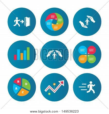 Business pie chart. Growth curve. Presentation buttons. Life insurance hands protection icon. Human running symbol. Emergency exit with arrow sign. Data analysis. Vector