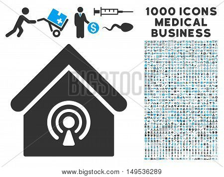 Radio Station icon with 1000 medical business gray and blue glyph pictographs. Collection style is flat bicolor symbols, white background.