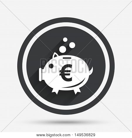 Piggy bank sign icon. Moneybox euro symbol. Circle flat button with shadow and border. Vector