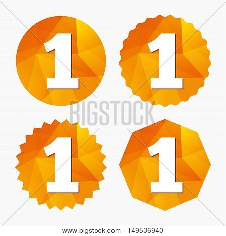 First place award sign. Winner symbol. Step one. Triangular low poly buttons with flat icon. Vector