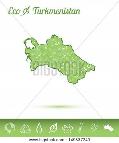 Turkmenistan Eco Map Filled With Green Pattern. Green Counrty Map With Ecology Concept Design Elemen