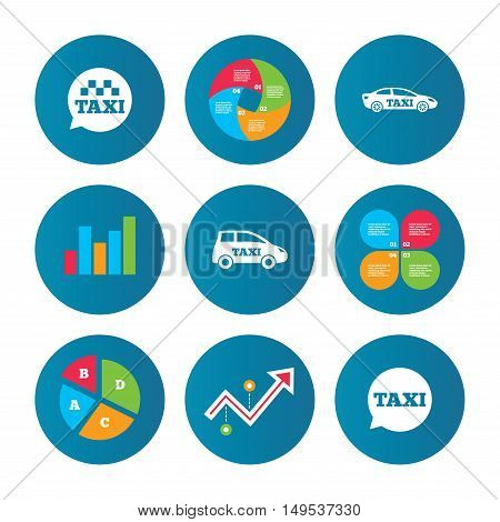 Business pie chart. Growth curve. Presentation buttons. Public transport icons. Taxi speech bubble signs. Car transport symbol. Data analysis. Vector