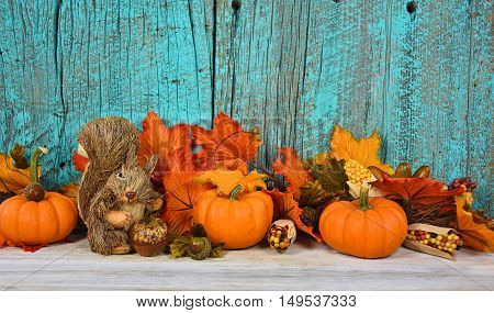 autumn pumpkins and leaves on rustic wood