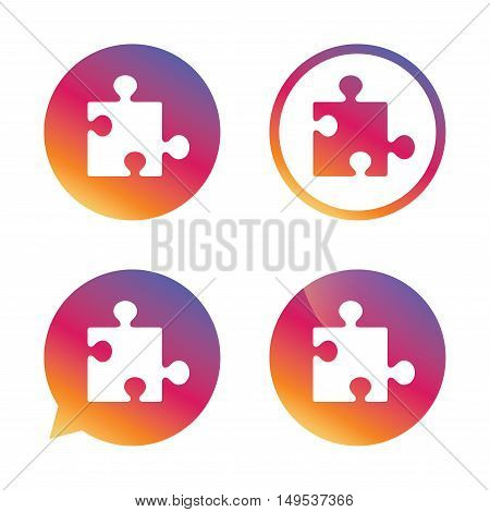 Puzzle piece sign icon. Strategy symbol. Gradient buttons with flat icon. Speech bubble sign. Vector